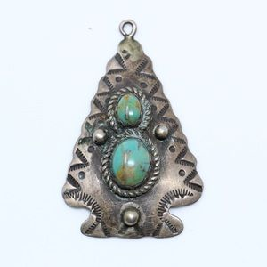 NAVAJO AC Sterling Turquoise Arrowhead Pendant